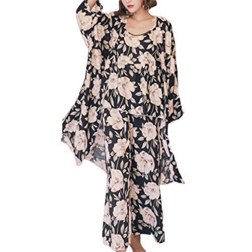 Women's Sleepwear Sets Elegant 3pcs Pajamas Floral Cami Dressing Gown and Pants Suits (XL, Peony Black) Adults Bedroom Cover u Evening Jumpsuits Nightdress Princess Students Pareo Cute Lovely Honey ()