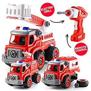 Take Apart Toys with Electric Drill | Converts to Fire Truck Remote Control Car | 3 in one Take Apart Toy for Boys…