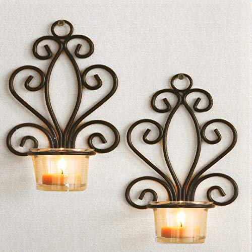Wall Mounted Candle Holders Set of 2 Victorian Metal Hanging Candleholders for Home Decoration (Bronze Hanging Victorian)