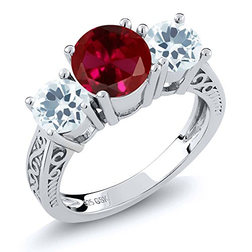 2.35 Ct Red Created Ruby & Sky Blue Aquamarine 925 Sterling Silver 3-Stone Women's Ring (Ring Size (Aquamarine White Gold Eternity Bands)