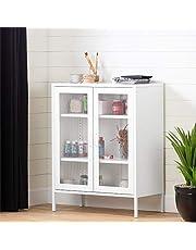 South Shore Crea Metal Mesh 2-Door Accent Cabinet-White, 13080