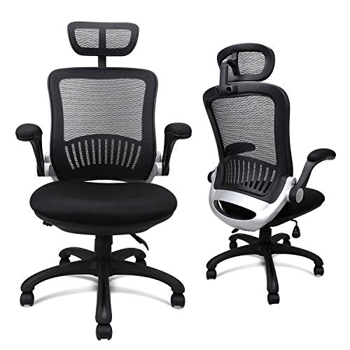 Ergonomic Mesh Office Chair, Komene Swivel Desk Chairs High Back Computer Task Chairs with Adjustable Backrest, Headrest, Armrest and Seat Height for Conference Room (Black with Sponge Cushion)