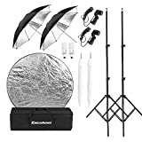 Excelvan Umbrella Set Lighting Photo Studio Continuous Kit with Reflector and 2x33'Translucent+2x Black/Silver Reflective Umbrella, 2x E27 Socket, 2x45W 5500k Light Bulbs for Portrait Photography & Video Shooting