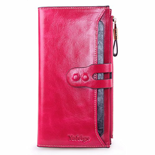 [BIG SALE-Yafeige Women's Large Capacity Luxury Wax Soft Leather Clutch Wallet Multi Card Holder Organizer Coin Purse(Rose)] (Pink Soft Leather)