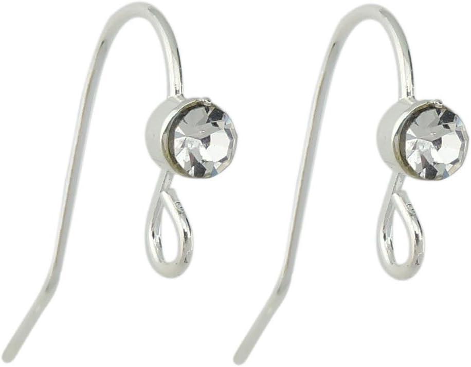 10 Pairs Rhinestone Earrings GoldSilver Plated Brass CZ Dangle Earring Findings With Loop Ear Wires Hook DIY Making Jewelry Supply PJ402