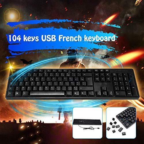 104 Key USB Mechanical Gaming French Keyboard ABS Waterproof 43.5X13X2cm for PC Games Laptop Desktop