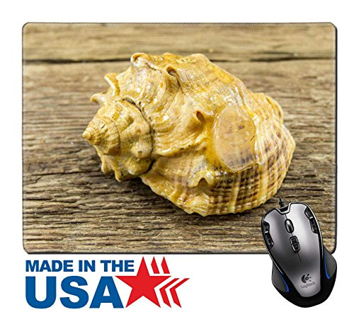 "MSD Natural Rubber Mouse Pad/Mat with Stitched Edges 9.8"" x 7.9"" Sea shell on a wooden background Image ID 24516214 (Strombus Shell)"