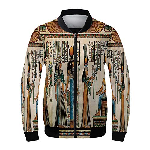 Egyptian Women's Windproof Jacket,Egyptian Papyrus Depicting Queen Nefertari Making an Offering to Isis Image Print for Outdoor Hiking,XS