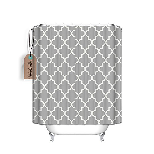Fabric Grey Custom (Custom Light Grey Quatrefoil Pattern Bathroom Waterproof Polyester Fabric Shower Curtain 72