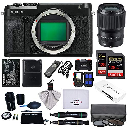 Fujifilm GFX 50R Medium Format Digital Camera Body with 110mm f/2.0 R LM WR Lens + 128GB Cards + Battery + Charger + Filters + Kit