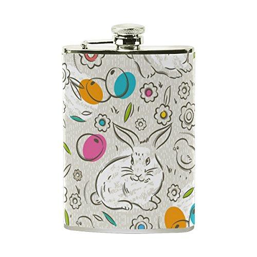 AHOMY Happy Easter Egg Chicken Rabbit Flower Stainless Steel Hip Flask 8 OZ Leak Proof Liquor Flask with PU Leather Wrapped - Liquor Egg Easter Bottles