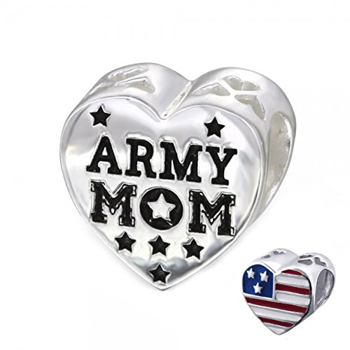 - Army Mom Bead Charm USA Flag Heart Bead Sterling Silver (E10310)