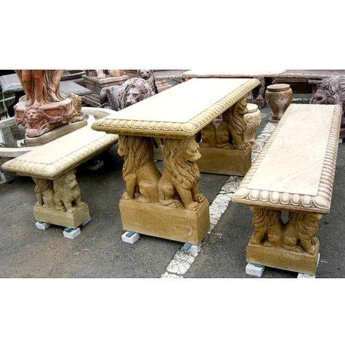 テーブル ベンチ 天然 大理石 彫刻 ライオン角テーブルベンチセット B00FGR11ZU