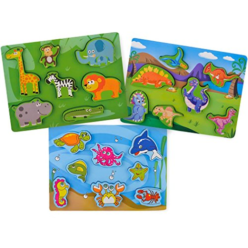 KIDS TOYLAND Wood Puzzles Sets Toddlers Sea World - Pre-Kindergarten Toys Suitable Age 3 Years up (3 Different Puzzles) by KIDS TOYLAND