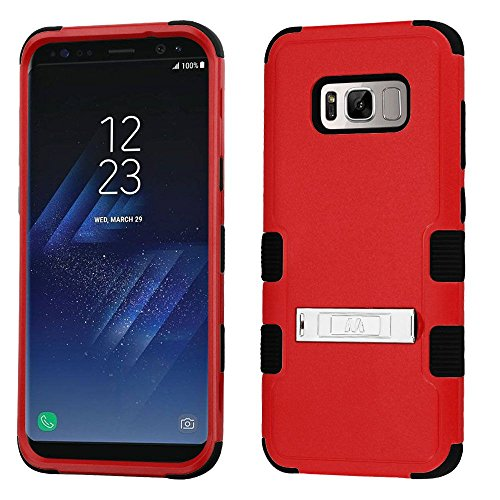 Price comparison product image MyBat TUFF Hybrid Phone Protector Cover (with Stand)[MilitaryGrade Certified](with Package) - Samsung Galaxy S8 Plus - Natural Red/Black