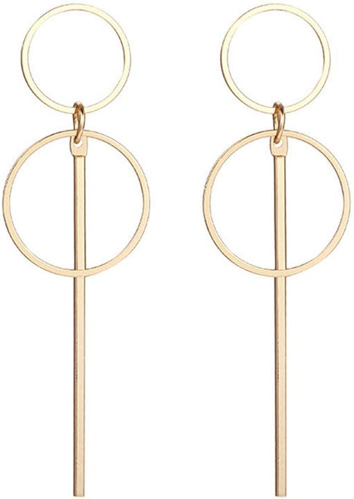 Geometric Double Circle Hoop Dangle Earrings Simple 8 Infinity Knot Bar Tassel Drop Earrings for Women Jewelry