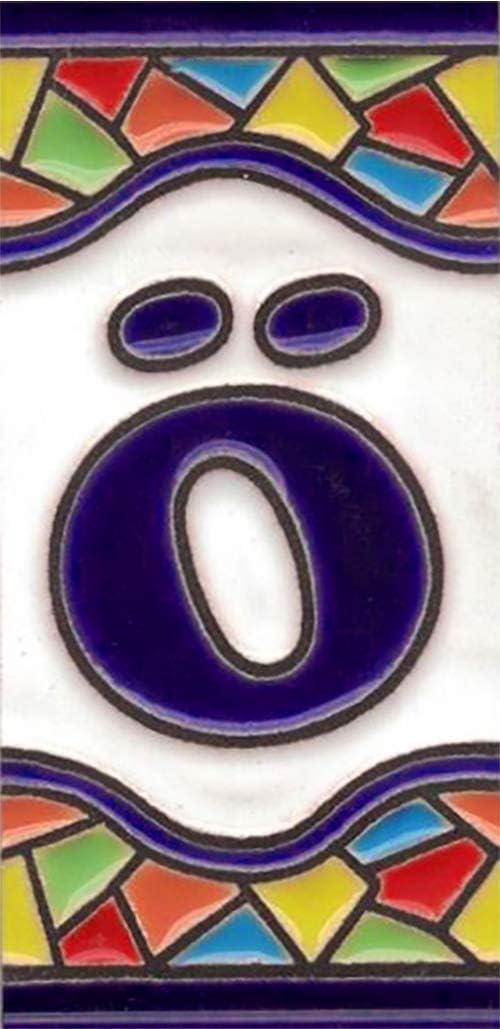 Pintados a Mano con la t/écnica de la cuerda seca N/úmeros y Letras en cer/ámica esmaltada TORO DEL ORO N/úmeros para casas Modelo Mini Mosaico 3,5 cms x 7,5 cms N/úmero siete7
