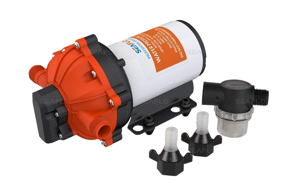 ALL NEW SEAFLO 55-Series Diaphragm Pump - 12V DC, 5.5 GPM, 60 PSI with HEAVY DUTY PRESSURE SWITCH by SEAFLO