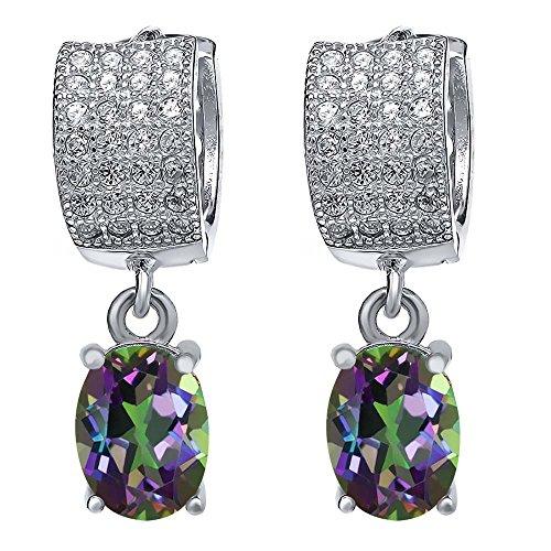 Sterling Silver Earrings Green Mystic Topaz Women's Dangle Drop Earrings (3.87 cttw, 8X6MM (Mystic Topaz Drop)