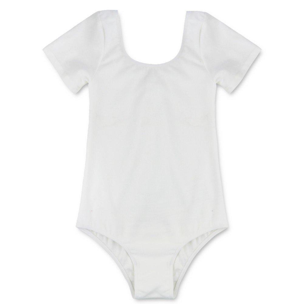 Freebily Kids Girls Short Long Sleeves Gymnastics Leotard Athletic Tank Tops Dancewear White 4