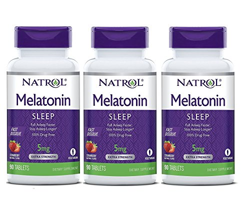 Natrol Melatonin Fast Dissolve Tablets, Strawberry Flavor, 5mg, 90 Count (Pack of 3)