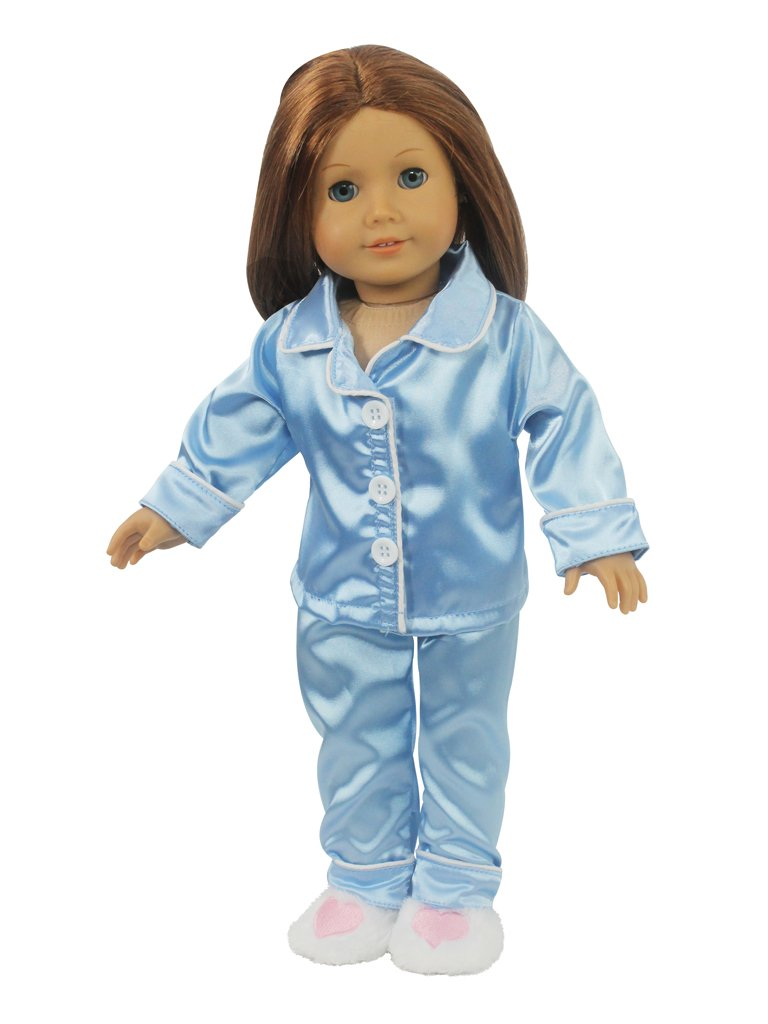 Doll Clothes for American Girl Dolls: 3 Piece 'Sleepy Time' Blue Silk Pajamas with Heart Slippers Outfit - 'Dress Along Dolly' (Includes 2 Piece Pajamas and Pair of Heart Fuzzy Slippers) Ride Along Dolly AMG-BPJ