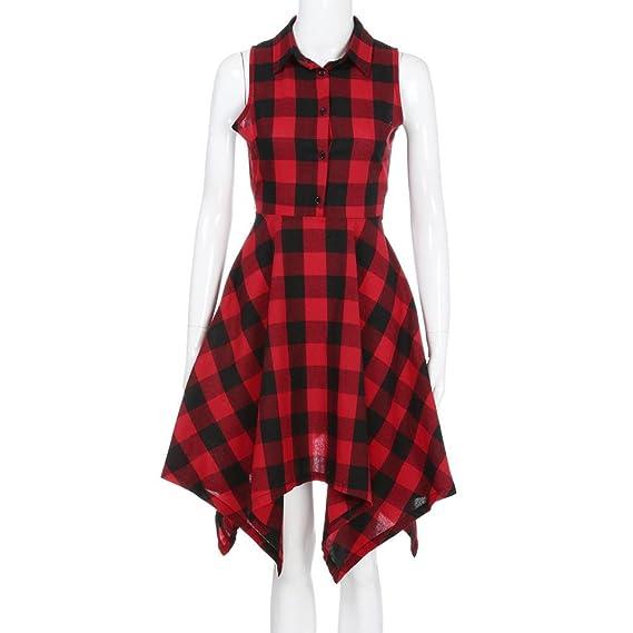 Siviki Women Vintage Bodycon Plaid Sleeveless Zipper Irregular Hem Evening Party Dress at Amazon Womens Clothing store: