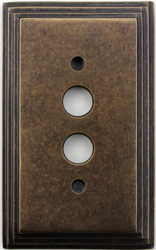 (Classic Accents Deco Aged Antique Brass 1 Gang Push Button Light Switch Wall Plate)