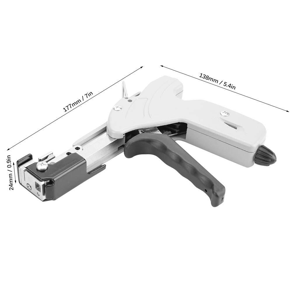 Pistola para bridas de cables 7,9 mm ajustable para bridas de acero herramienta de fijaci/ón de tensi/ón negro y gris 177 x 138 x 24 mm