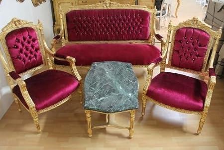 LouisXV estilo antiguo barroco Salon 2 sillones 1 sofá mesa ...