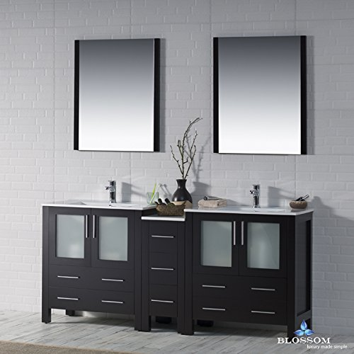 BLOSSOM 001-72-02-D Sydney 72'' Double Vanity Set with Mirrors Espresso