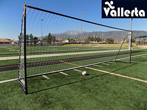 (Vallerta 24 x 8 Ft.Regulation Size Soccer Goal w/Weatherproof HDPE Net. 50MM Diameter Industrial Grade Blk/Gld Powder Coated Galvanized Steel. Portable 8x24 Foot Training Aid(1Net) ONE Year Warranty!)