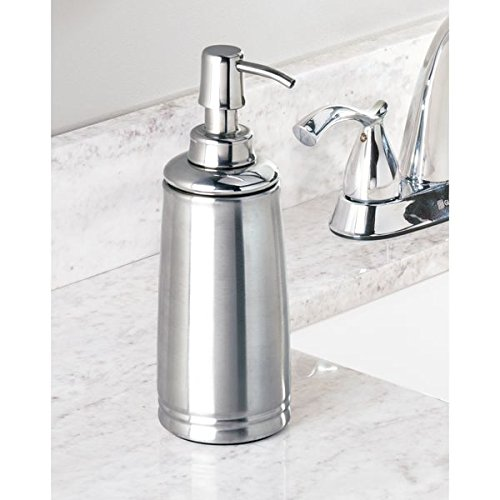 mDesign Liquid Hand Soap Dispenser Pump Bottle for Kitchen, Bathroom | Also Can be Used for Hand Lotion & Essential Oils - Pack of 2, Brushed/Polished Stainless Steel by mDesign