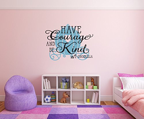 Edvoynlm Cinderella Carriage Wall Decals Stickers Decor for Girls- Have Courage and be Kind Wall Decal with Princess Carriage - Fairy Wall Decal Girls Bedroom Decor -