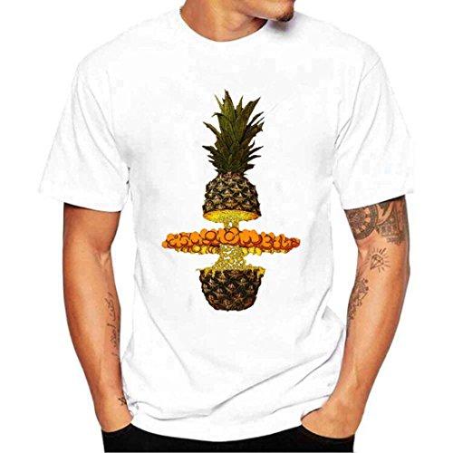 Vcenty Fashion Funny Pineapple Print T-Shirt for Men Boy Novelty Short Sleeve Crew Neck Graphic Tee (S, White)