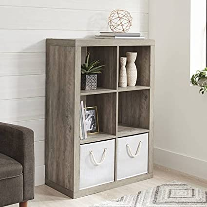 Amazon Better Homes And Gardens 6 Cube Decorative Organizer In Finish Rustic Gray Kitchen Dining