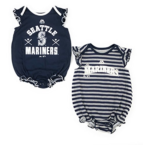 - Outerstuff Seattle Mariners Baseball Girls Baby Sparkle Clothing Apparel 2 Piece Creeper Set Navy