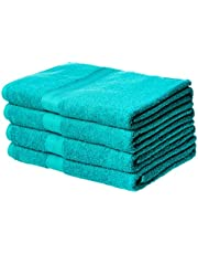 AmazonBasics Fade-Resistant Cotton Bath Towel - Pack of 4, Teal