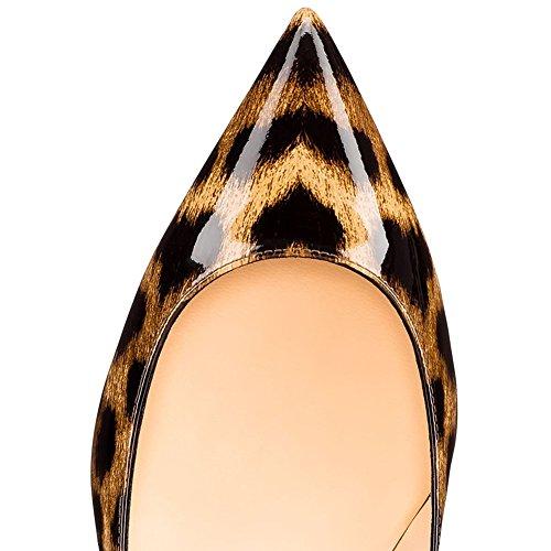 Shoes Women Women's Leopard On Pumps Heels For Sexy Toe Comfity Office Dress Slip Pointed Kitten PxwT1Eqt