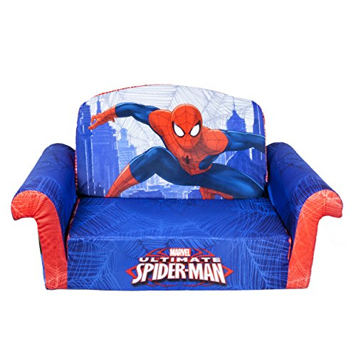 Seat 2 Sofa Open Back (Marshmallow Furniture Children's 2 in 1 Flip Open Foam Sofa, Marvel Spiderman, by Spin Master)