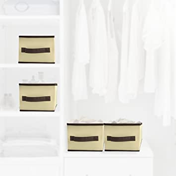 Collapsible Canvas Storage Bins 4 Pack (7 inches x 11.75 inches x 5.75 inches) & Amazon.com: Collapsible Canvas Storage Bins 4 Pack (7 inches x 11.75 ...