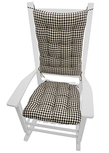 Rocking Chair Cushions - Checkers Black & Cream - Size Standard - Latex Foam Fill, Reversible - Black & White 1/4