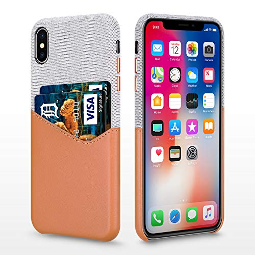 Bigphilo Wallet Case for 6.5 iPhone Xs Max 2018, Soft-Touch Fabric Protective Cover with Synthetic Leather Card Holder/Slot Compatible iPhone Xs Plus - Brown/Gray