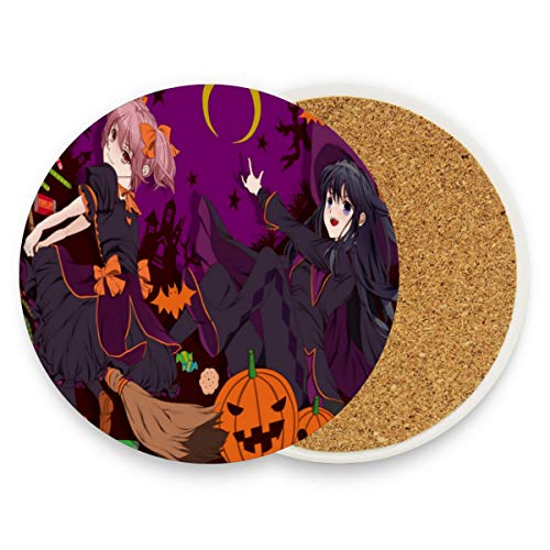 (Coasters for Drinks,Stylish Halloween Anime Wallpaper Ceramic Round Cork Trivet Heat Resistant Hot Pads Table Cup Mat Coaster-Set of 2 Pieces)