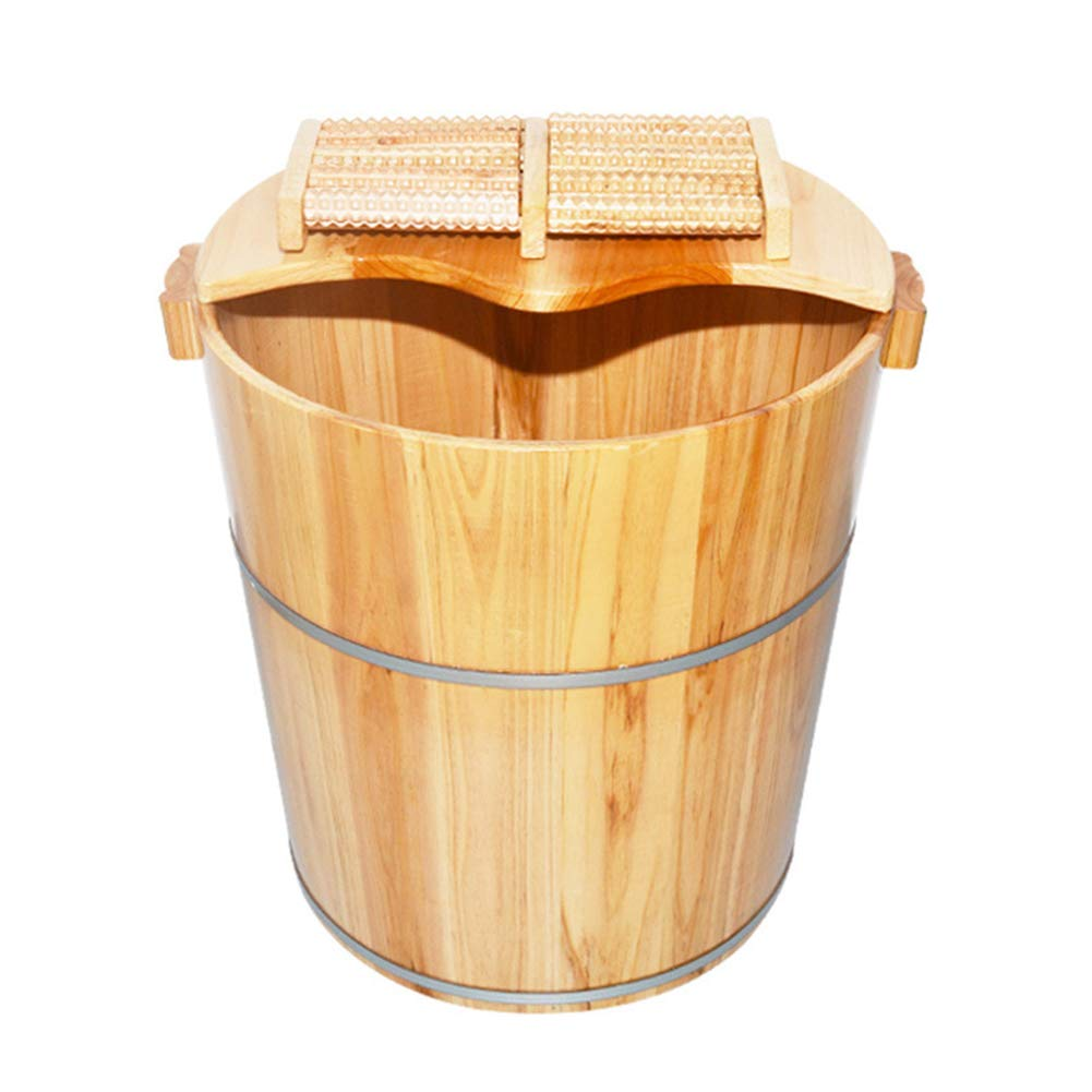 YALTOL Foot Bath Basin Massagers Natural Solid Wood Thicken Foot Spa Wooden Tub Household Insulation Steamed Health Foot Care 40cm High,Woodenbarrel+Lid