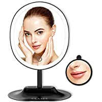 OLAXER USB Rechargeable Oval Vanity Mirror with 1X/5X Magnification (Black)