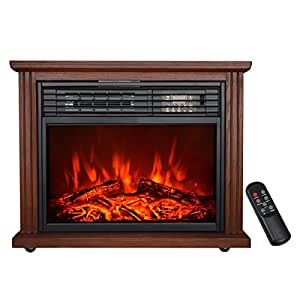 HollyHOME 28'' Free Standing Electric Fireplace with 3 Infrared Tube, Firebox Heater with 4 wheels, Walnut