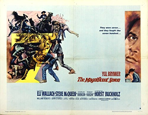 (MAGNIFICENT SEVEN, THE (1960) Vtg half sheet style B poster unusual STYLIZED art)