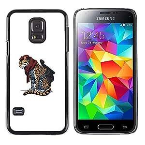 MOBMART Slim Sleek Hard Back Case Cover Armor Shell FOR Samsung Galaxy S5 Mini, SM-G800 - Cheetah Warrior - Cool Cat Cute Funny Animal