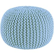 Cotton Craft - Hand Knitted Cable Style Dori Pouf - Light Blue - Floor Ottoman - 100% Cotton Braid Cord - Handmade & Hand Stitched - Truly one a Kind Seating - 20 Dia x 14 High